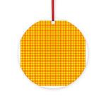 Orange Gingham Ornament (Round)
