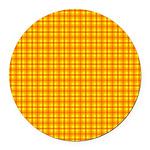 Orange Gingham Round Car Magnet