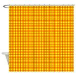 Orange Gingham Shower Curtain