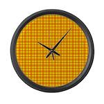 Orange Gingham Large Wall Clock