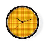 Orange Gingham Wall Clock