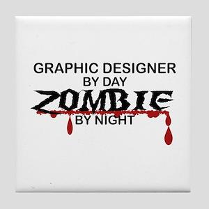 Graphic Designer Zombie Tile Coaster