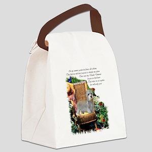 dandie dinmont garden 1 Canvas Lunch Bag