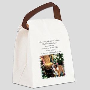 bulldog garden 2 Canvas Lunch Bag