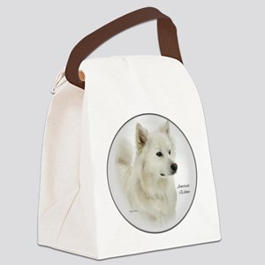 american eskimo dog art round Canvas Lunch Bag