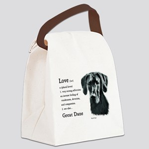Black Great Dane Canvas Lunch Bag