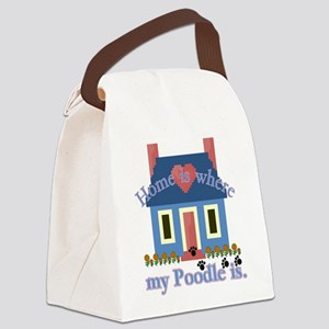 poodle home is Canvas Lunch Bag