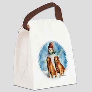 Golden Retriever Christmas Canvas Lunch Bag