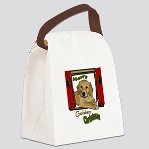 Golden Retriever Window Canvas Lunch Bag