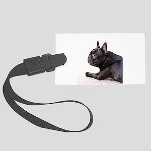 french bulldog a Large Luggage Tag