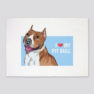 I Love My Pit Bull 5'x7'Area Rug