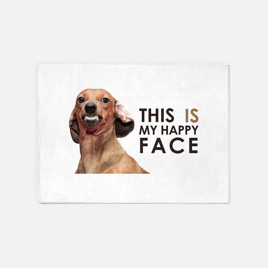 Happy Face Dachshund 5'x7'Area Rug