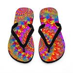 Psychedelic Pink Fractal Art Flip Flops