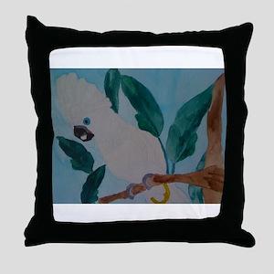 white umbrella cockatoo Throw Pillow