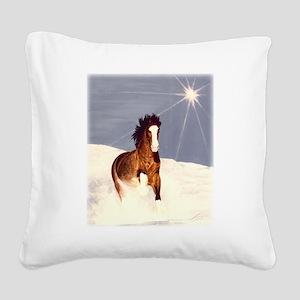 Starlight Snow Run Square Canvas Pillow
