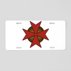 maltesecrossgoldred Aluminum License Plate
