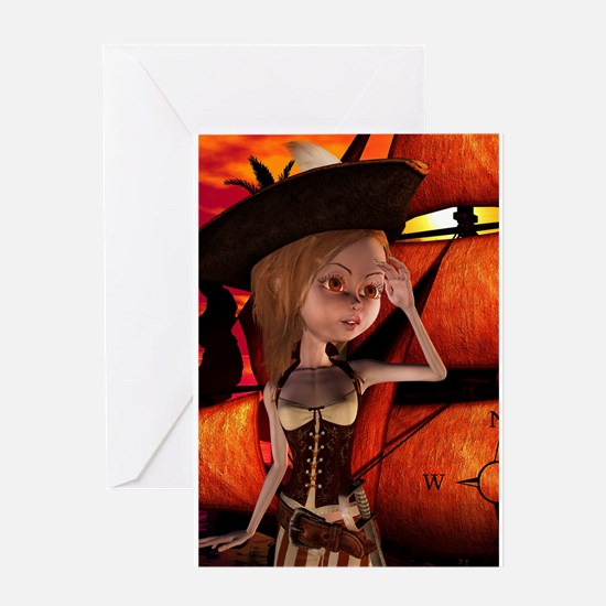 Cute pirate girl with ship Greeting Cards