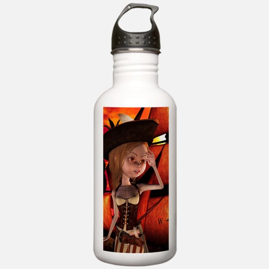 Cute pirate girl with ship Water Bottle