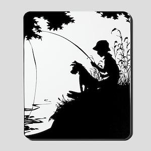 Old Timey Boy Fishing Mousepad