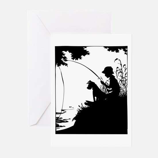 Old Timey Boy Fishing Greeting Cards (Pk of 10