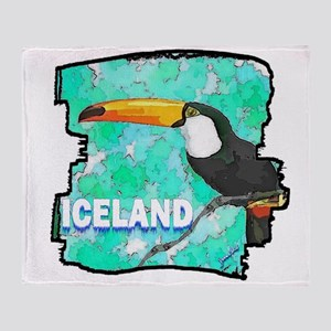 iceland puffin art illustration Throw Blanket