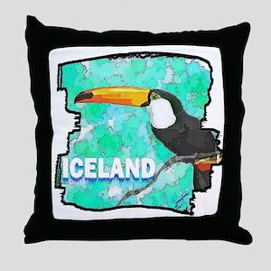 iceland puffin art illustration Throw Pillow