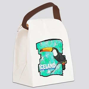 iceland puffin art illustration Canvas Lunch Bag