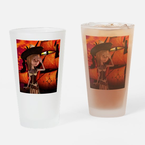 Cute pirate girl with ship Drinking Glass