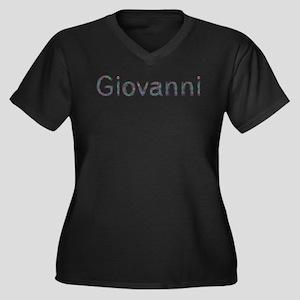 Giovanni Paper Clips Women's Plus Size V-Neck Dark