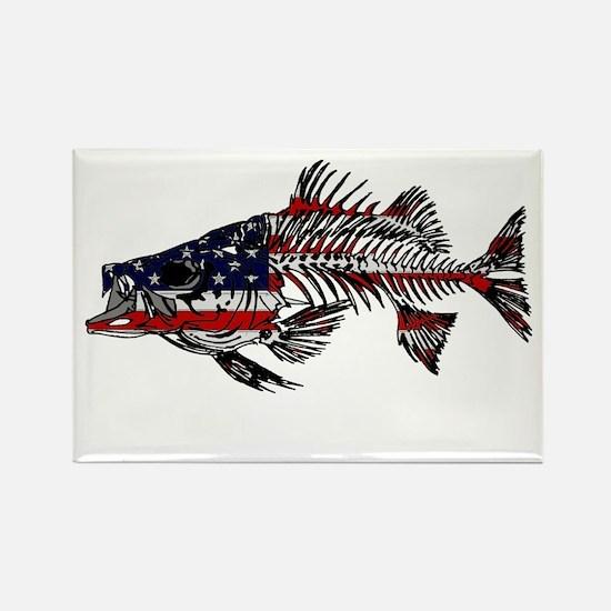 STRIPED BASS SKELETON AMERICAN FLAG MAGNET