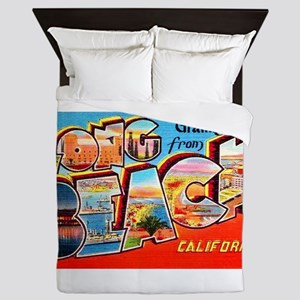 Long Beach California Greetings Queen Duvet