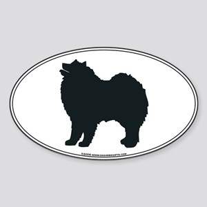 Samoyed Silhouette Oval Sticker
