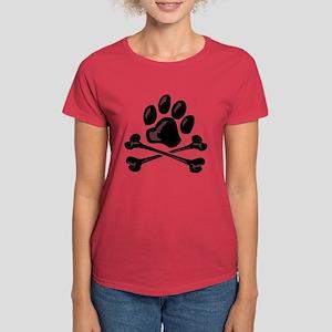 paw and crossbones Women's Dark T-Shirt
