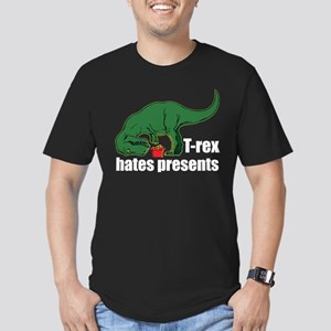 T-rex hates presents Men's Fitted T-Shirt (dark)