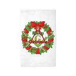 Masonic Christmas Wreath 3'x5' Area Rug