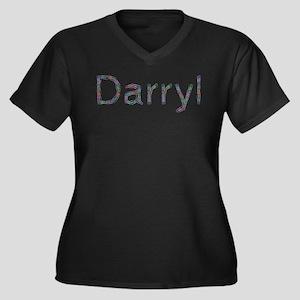 Darryl Paper Clips Women's Plus Size V-Neck Dark T