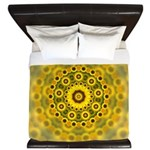 Yellow Sunflower Fractal Pattern King Duvet