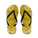 Yellow Sunflower Fractal Pattern Flip Flops