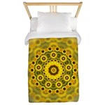 Yellow Sunflower Fractal Pattern Twin Duvet