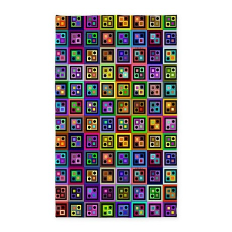 Boxes and Dots 3'x5' Area Rug