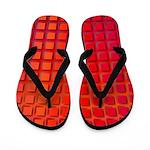 Red Retro Squares Pattern Flip Flops