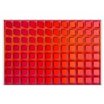 Red Retro Squares Pattern Large Poster