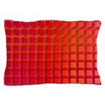 Red Retro Squares Pattern Pillow Case