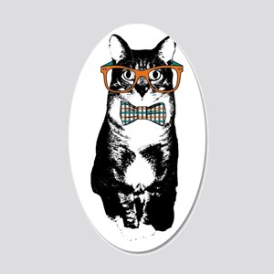 Hipster Cat 20x12 Oval Wall Decal