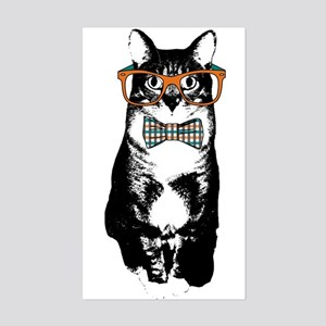 Hipster Cat Sticker (Rectangle)