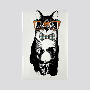 Hipster Cat Rectangle Magnet