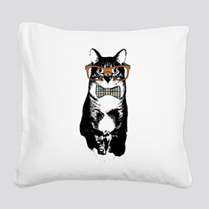 Hipster Cat Square Canvas Pillow