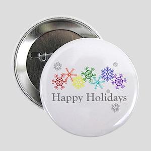 """Rainbow Snowflakes 2.25"""" Button"""