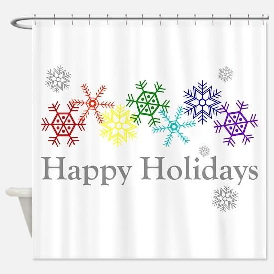 Rainbow Snowflakes Shower Curtain