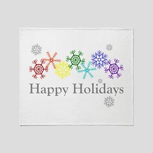 Rainbow Snowflakes Throw Blanket
